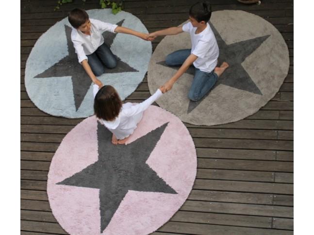 Tapis enfant STAR REVERSIBLE rond diam. 140cm en coton lavable - LORENA CANALS