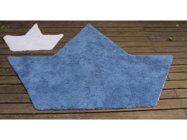 Tapis enfant 2 BATEAUX SILHOUETTE réversible 120x160cm + petit tapis en coton lavable - LORENA CANALS