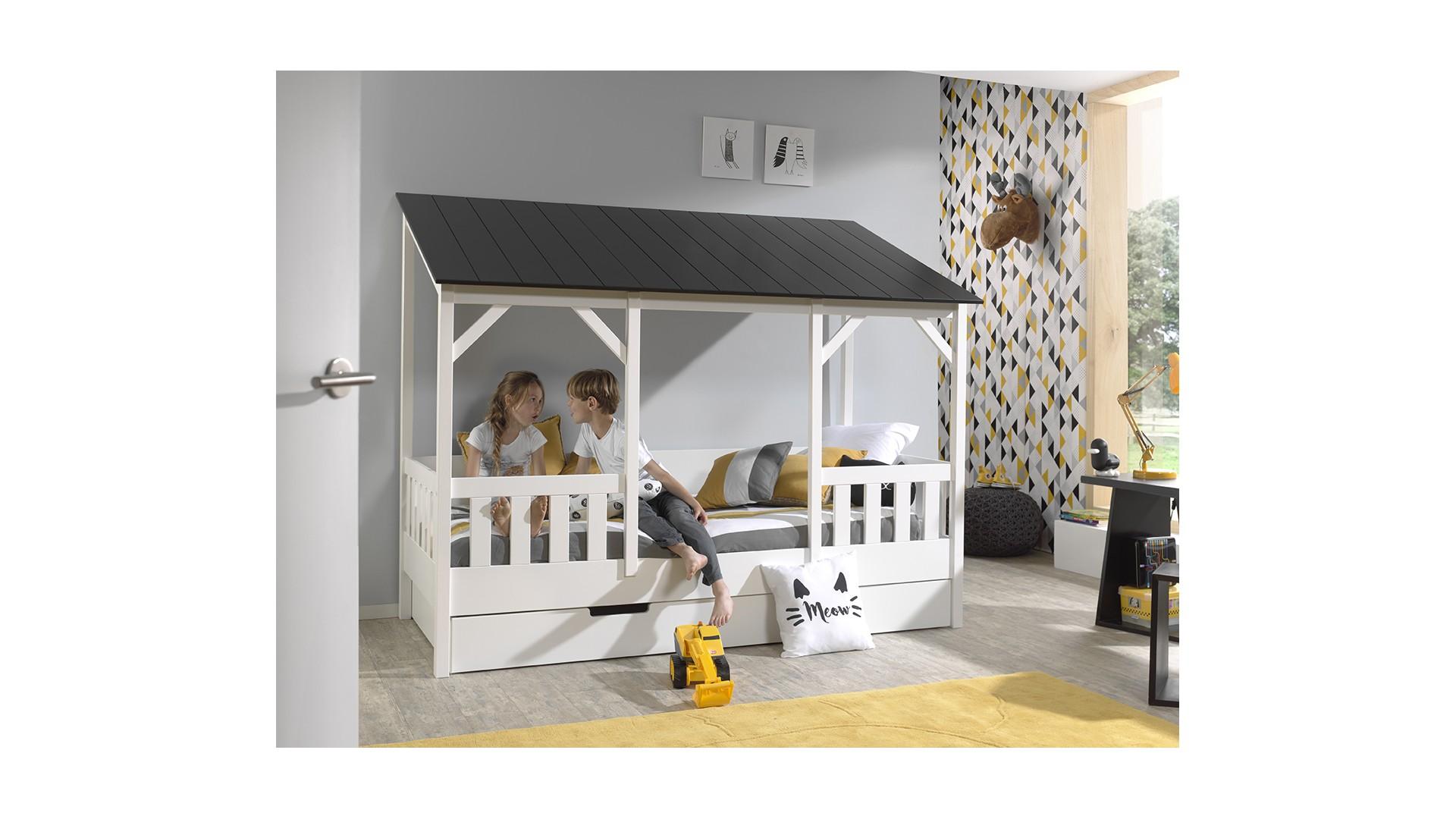 Lit cabane maison en bois MARCUS toit noir 90x200 cm- SONUIT