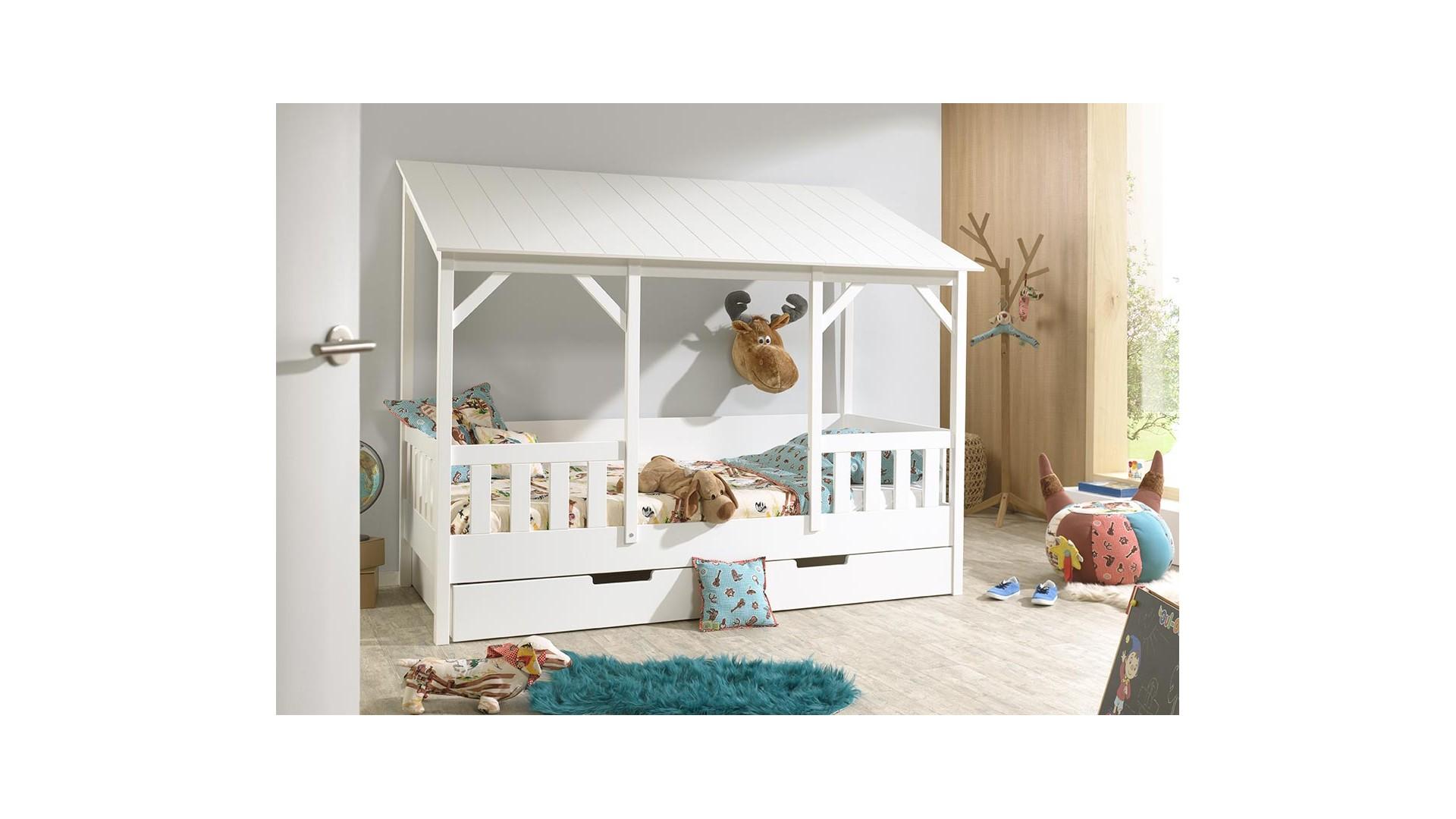 Lit cabane maison en bois MARCUS toit blanc 90x200 cm- SONUIT