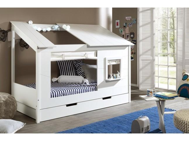 Lit cabane maison en bois JAMIE toit ouvert et fenêtre 90x200 cm- SONUIT