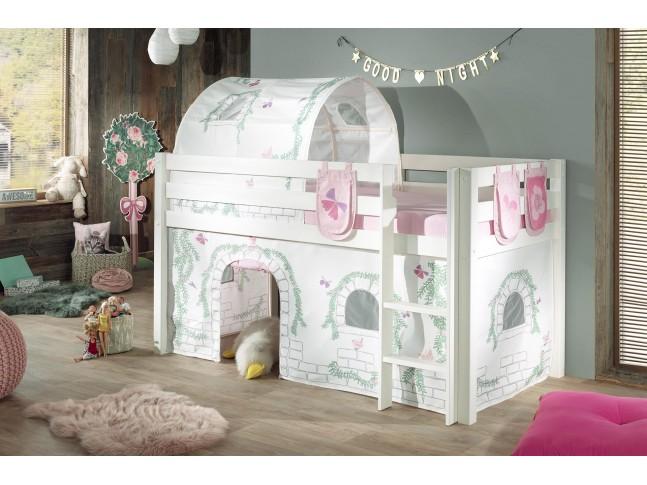 Lit cabane fille ALICE décor birdy couchage 90x200 cm - SONUIT
