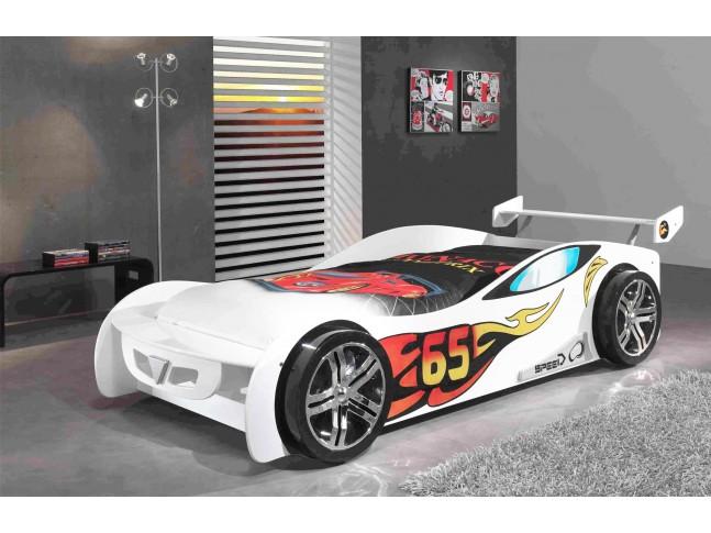 Lit enfant voiture Bolide blanc avec couchage 90 x 200 cm - SONUIT