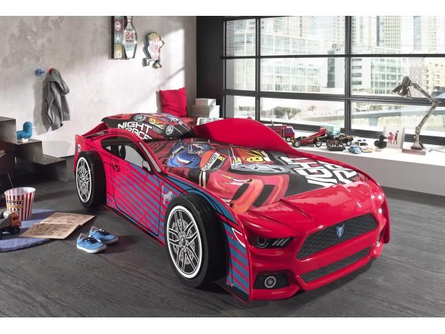 Lit voiture garçon Féline rouge avec couchage 90 x 200 cm - SONUIT