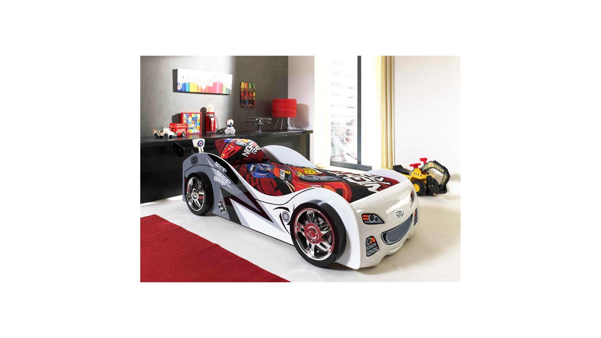 Lit  garçon voiture Smily blanc couchage 90 x 200 cm - SONUIT