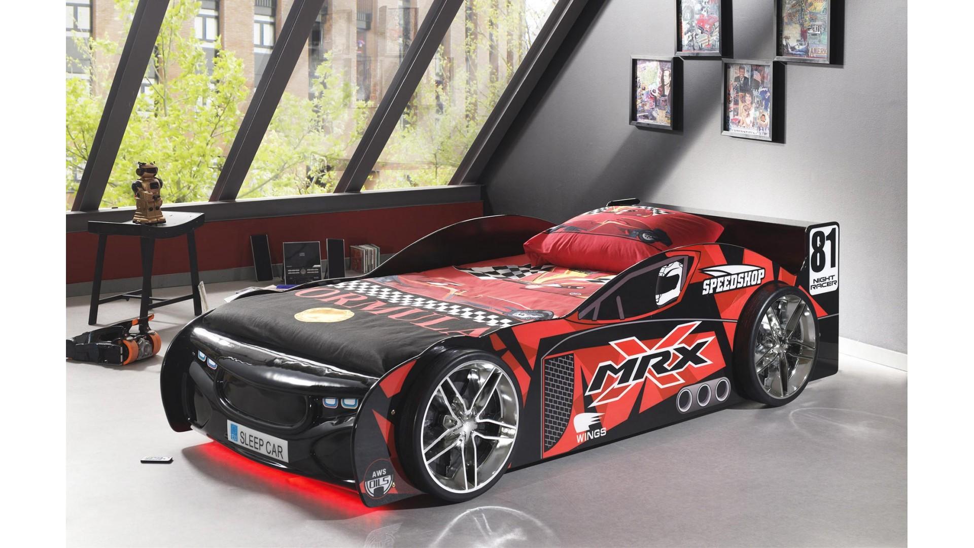 Lit voiture de course Pilote noir couchage 90 x 200 cm - SONUIT