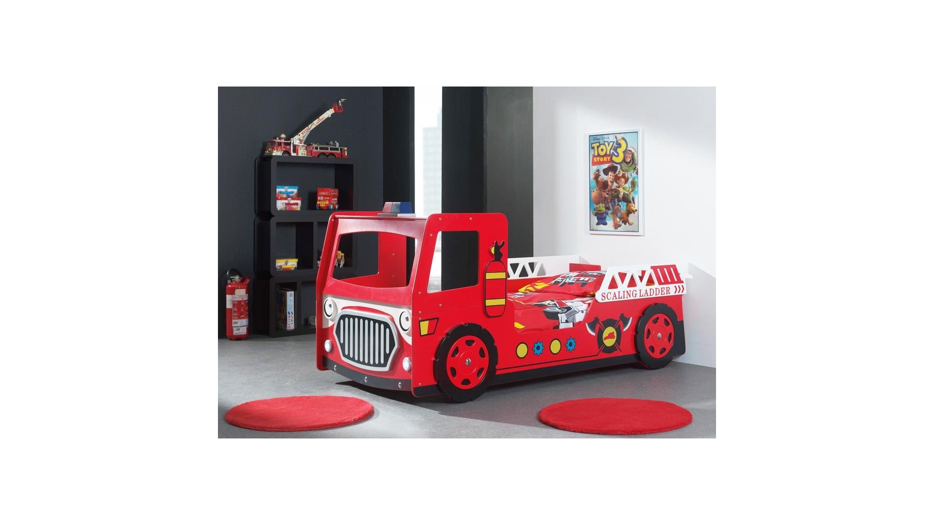 Lit pompier enfant rouge FireFighter avec couchage 90 x 200 cm - SONUIT