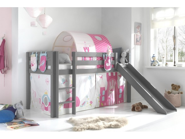 Lit cabane toboggan ALICE décor princesse carrosse couchage 90x200 cm - SONUIT