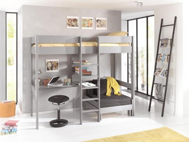 Lit mezzanine avec bureau ALEXIS couchage 90x200 cm - SONUIT