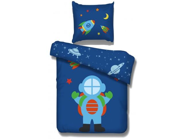 Parure lit enfant Astro 100% coton housse couette + taie oreiller - SONUIT