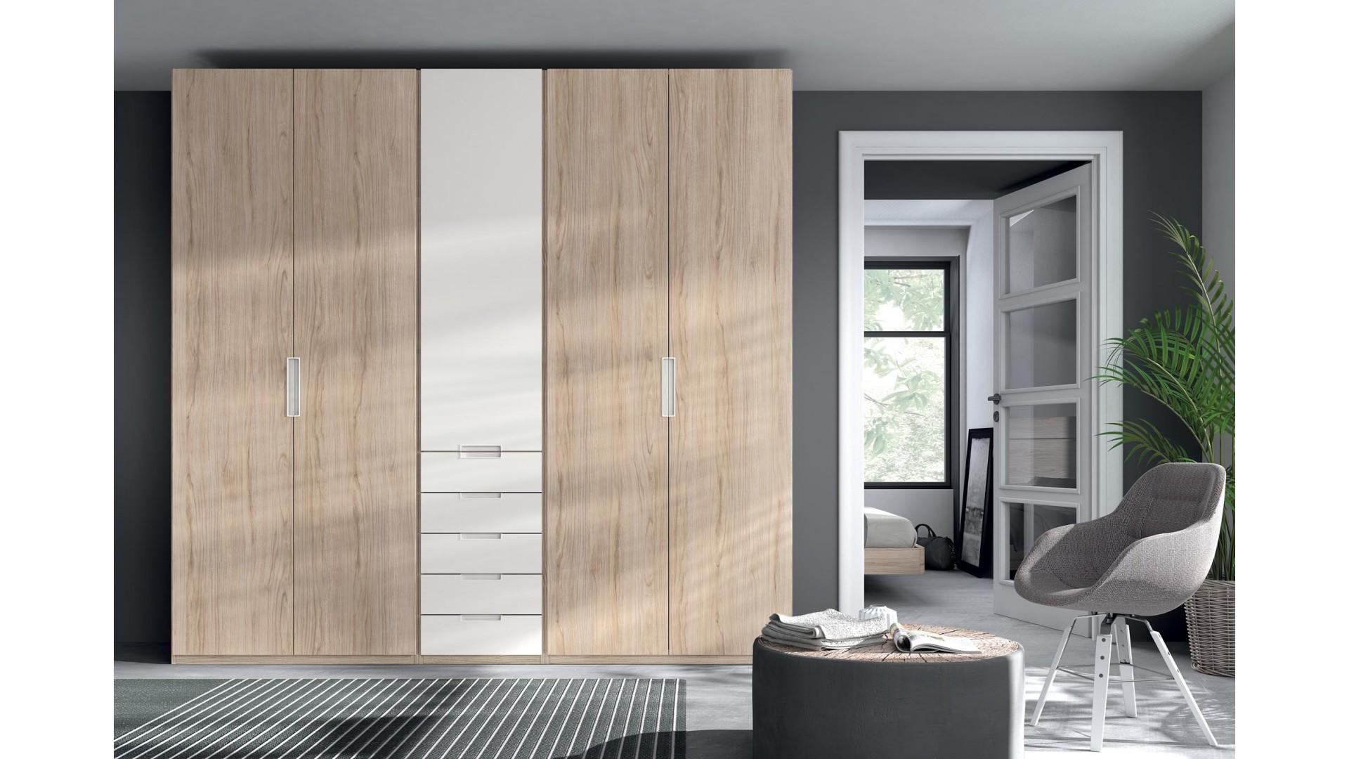 Armoire dressing 5 portes battantes 5 tiroirs PERSONNALISABLE COSMO51 - GLICERIO