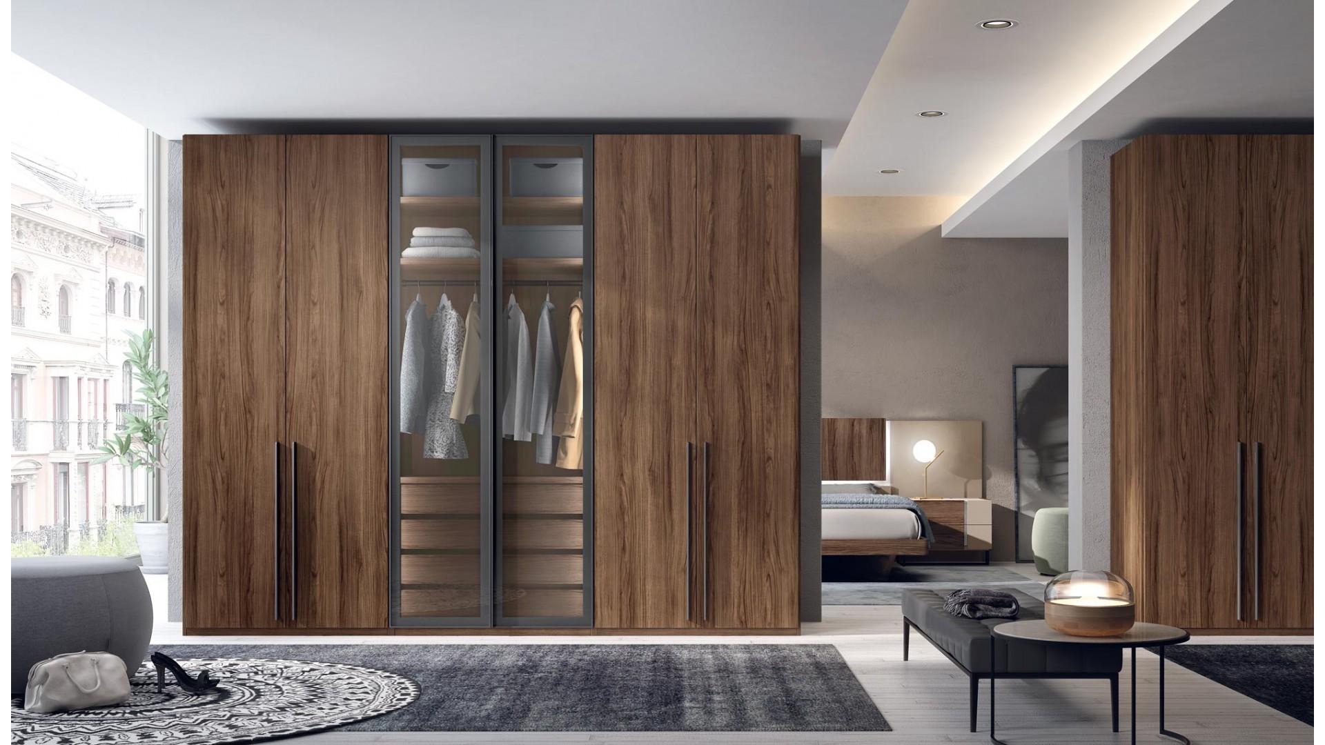 Armoire dressing 6 portes battantes 4 tiroirs PERSONNALISABLE COSMO52 - GLICERIO