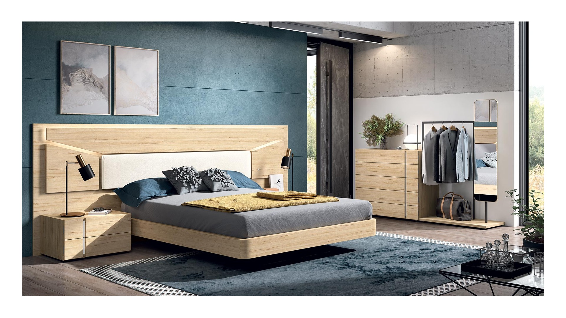 Chambre à coucher adulte complète PERSONNALISABLE COSMO 06 - GLICERIO