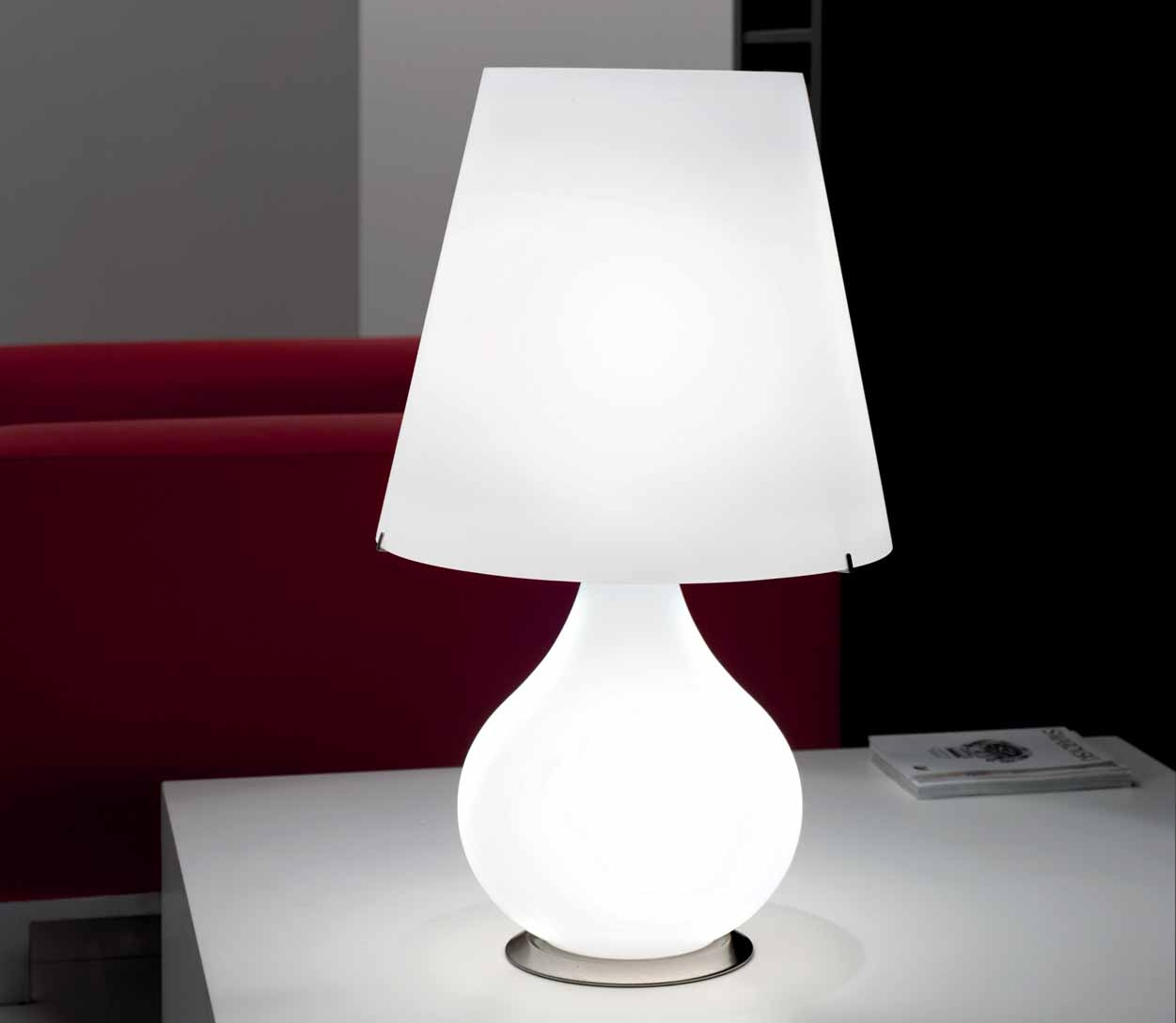 lampe de chevet forever en verre souffl blanc selene so nuit. Black Bedroom Furniture Sets. Home Design Ideas