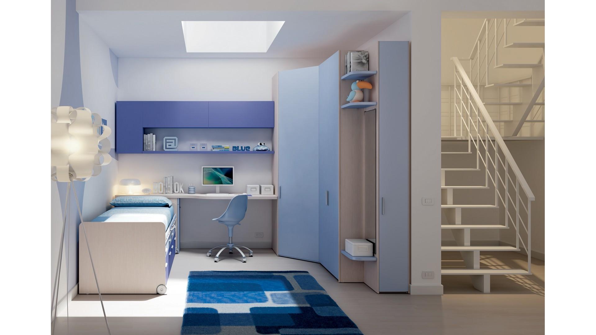 Chambre enfant PERSONNALISABLE KC20 avec lit surélevé à tiroirs - MORETTI COMPACT
