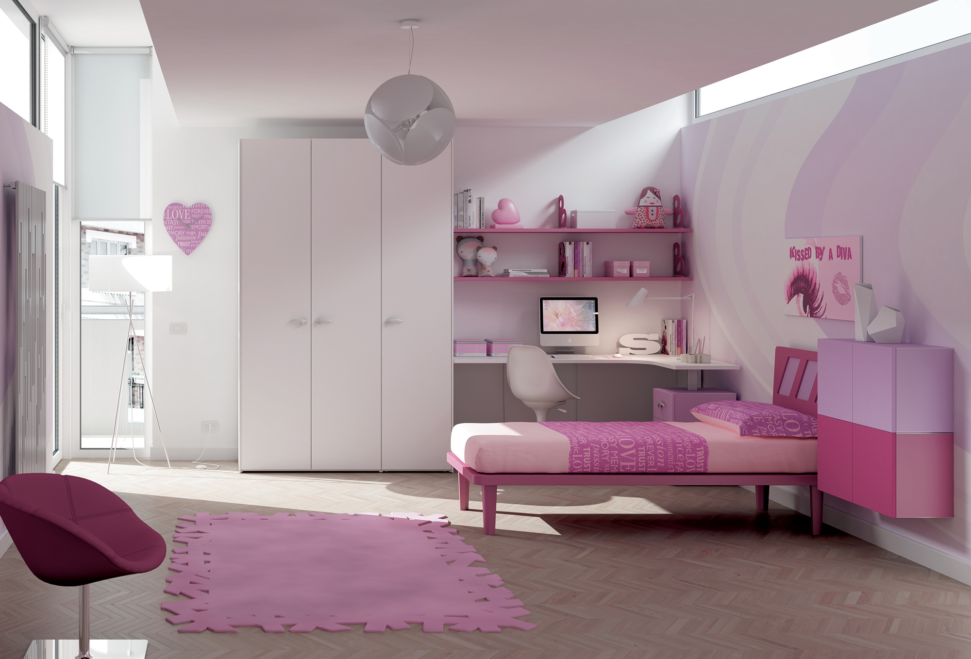 chambre enfant pour fille douce coquette moretti compact so nuit. Black Bedroom Furniture Sets. Home Design Ideas