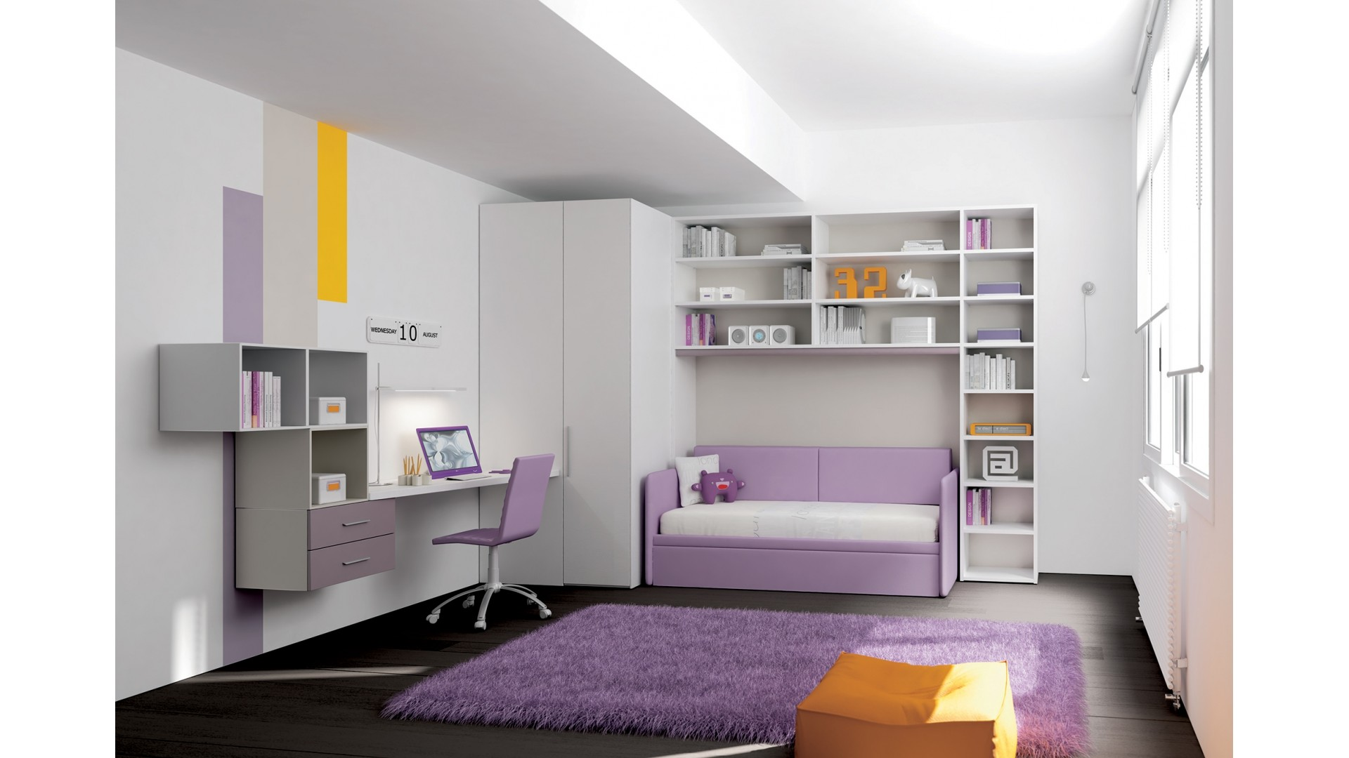 Chambre enfant PERSONNALISABLE KP21 lit canapé et lit gigogne - MORETTI COMPACT