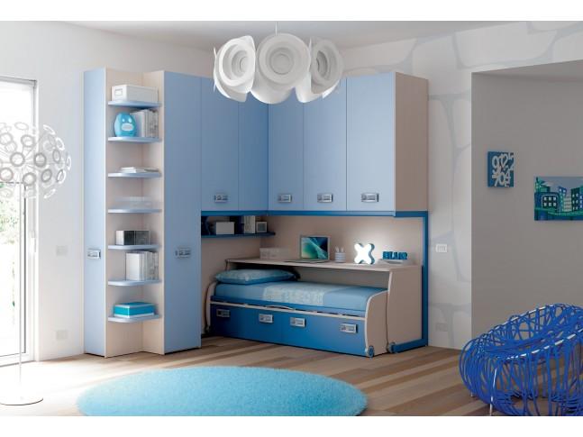 Chambre enfant PERSONNALISABLE KP22 avec lit surélevé 2 tiroirs - MORETTI COMPACT