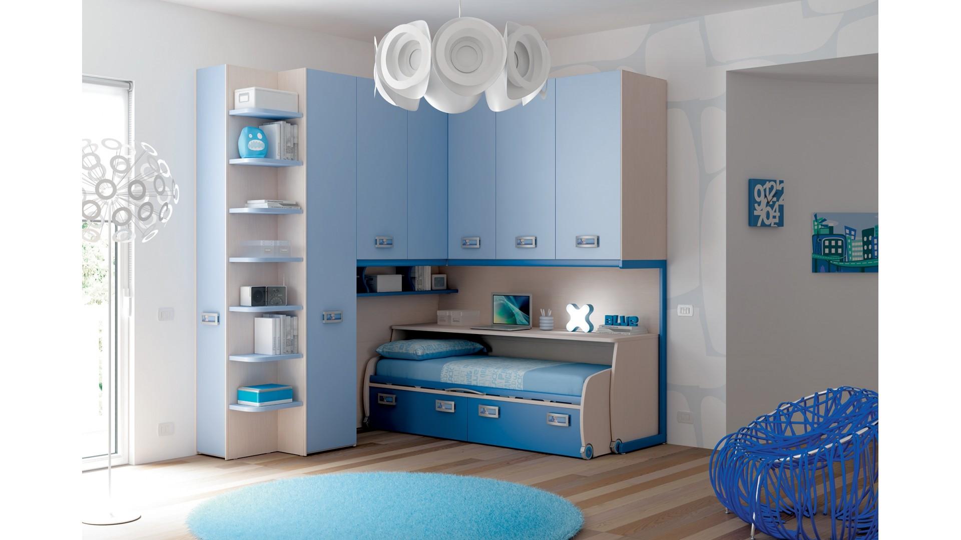 chambre enfant avec lit bureau coulissant moretti compact so nuit. Black Bedroom Furniture Sets. Home Design Ideas