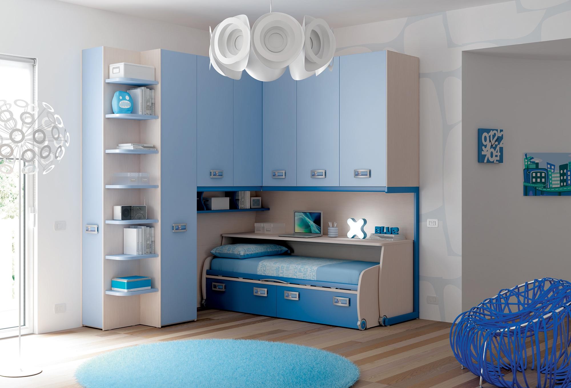 Chambre enfant avec lit bureau coulissant moretti for Chambre adulte avec lit bebe