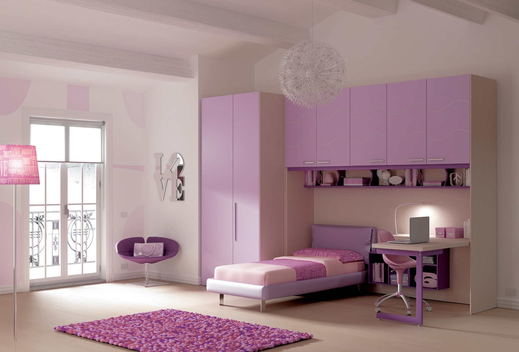 chambre enfant avec lit simple pour fille moretti. Black Bedroom Furniture Sets. Home Design Ideas