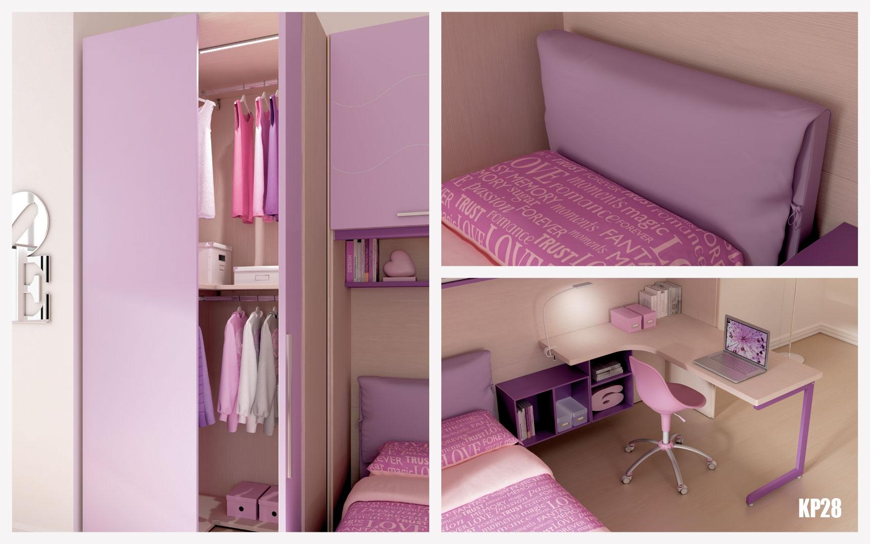 chambre enfant avec lit simple pour fille moretti compact so nuit. Black Bedroom Furniture Sets. Home Design Ideas