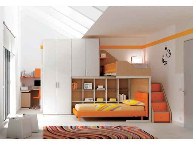 Chambre enfant PERSONNALISABLE KS11 lits superposés en mezzanine - MORETTI COMPACT
