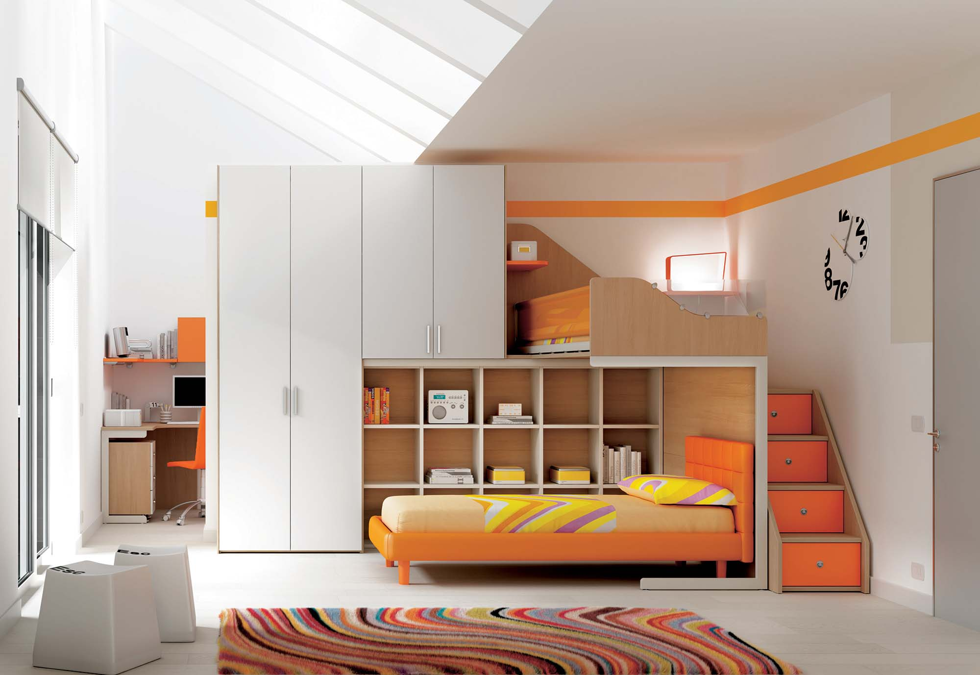 chambre enfant lits superpos s en mezzanine moretti. Black Bedroom Furniture Sets. Home Design Ideas