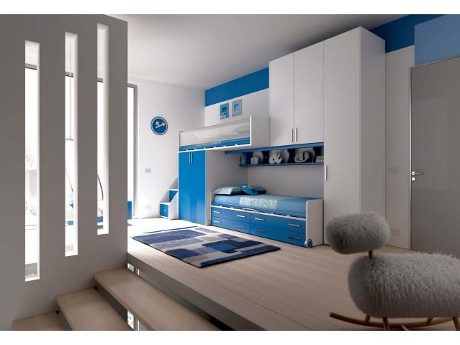 Chambre enfant PERSONNALISABLE KS12 lits superposés en mezzanine - MORETTI COMPACT