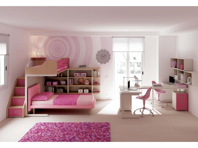 Chambre enfant PERSONNALISABLE KS13 lits superposés en mezzanine - MORETTI COMPACT