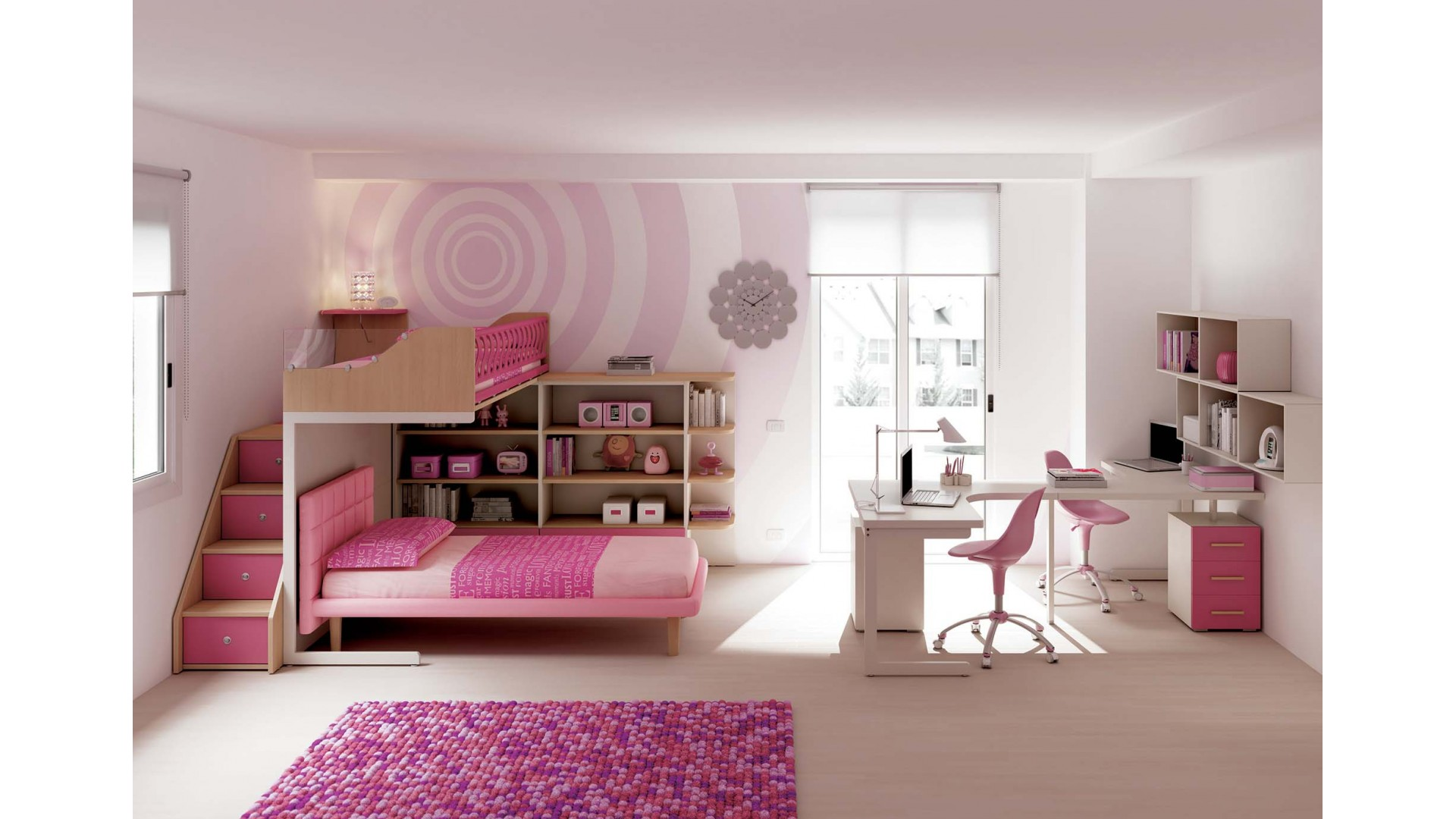 chambre enfant avec lits superpos s fille moretti. Black Bedroom Furniture Sets. Home Design Ideas