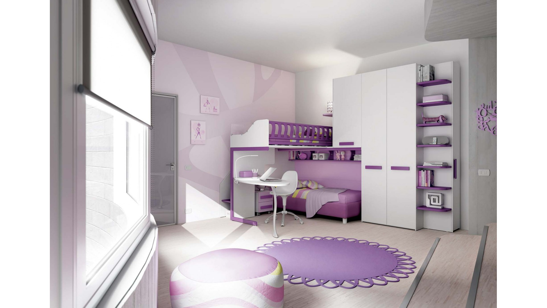 chambre enfant design avec lits superpos s moretti compact so nuit. Black Bedroom Furniture Sets. Home Design Ideas