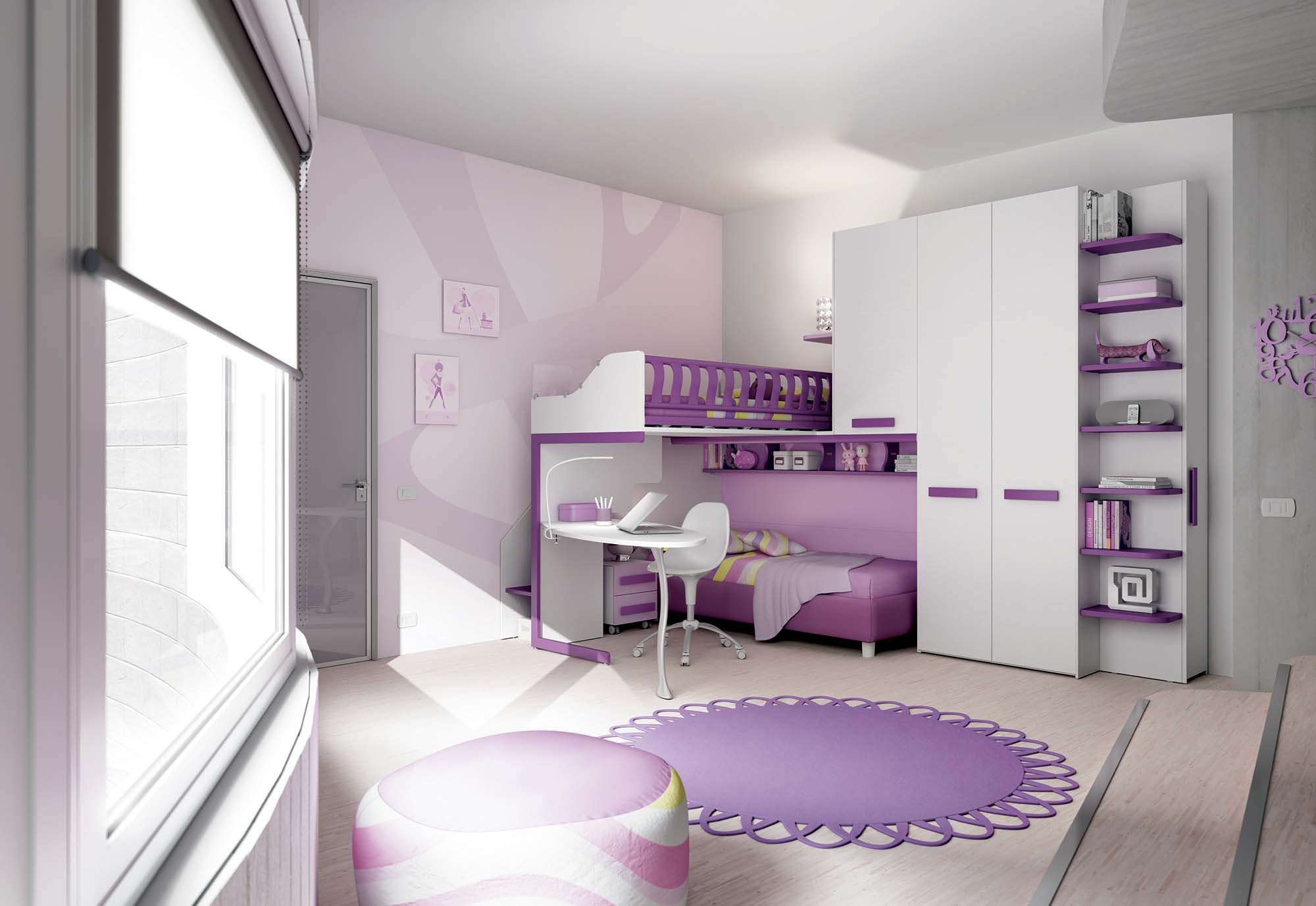 chambre enfant mezzanine lumineuse et moderne chambre. Black Bedroom Furniture Sets. Home Design Ideas