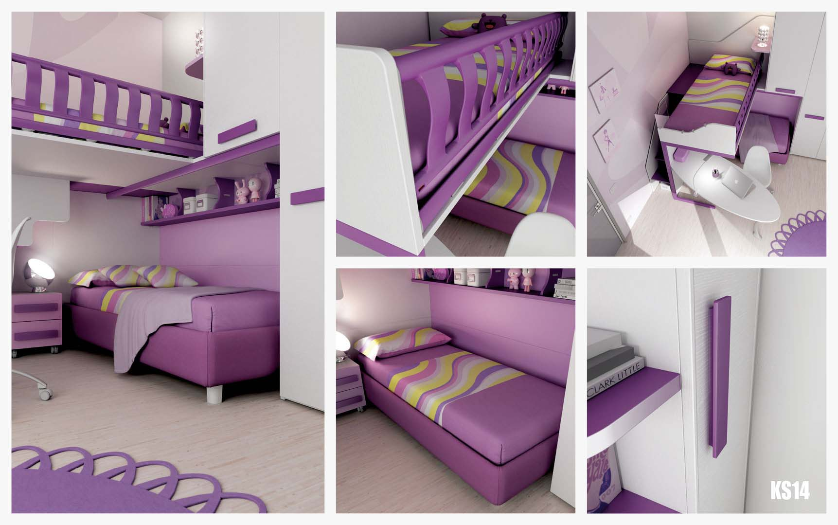 Chambre enfant design avec lits superpos s moretti for Chambre avec lit superpose