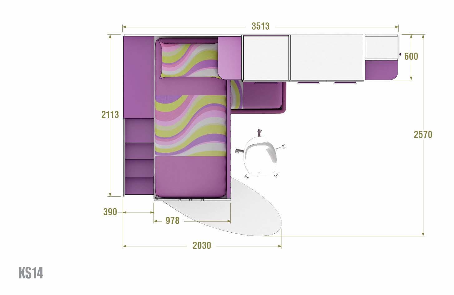 Chambre enfant design avec lits superpos s moretti for Chambre enfant mezzanine