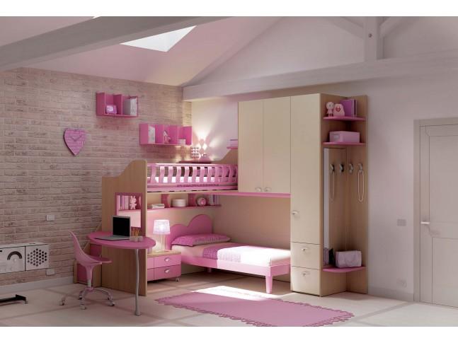 Chambre enfant PERSONNALISABLE KS16 lits superposés en mezzanine - MORETTI COMPACT