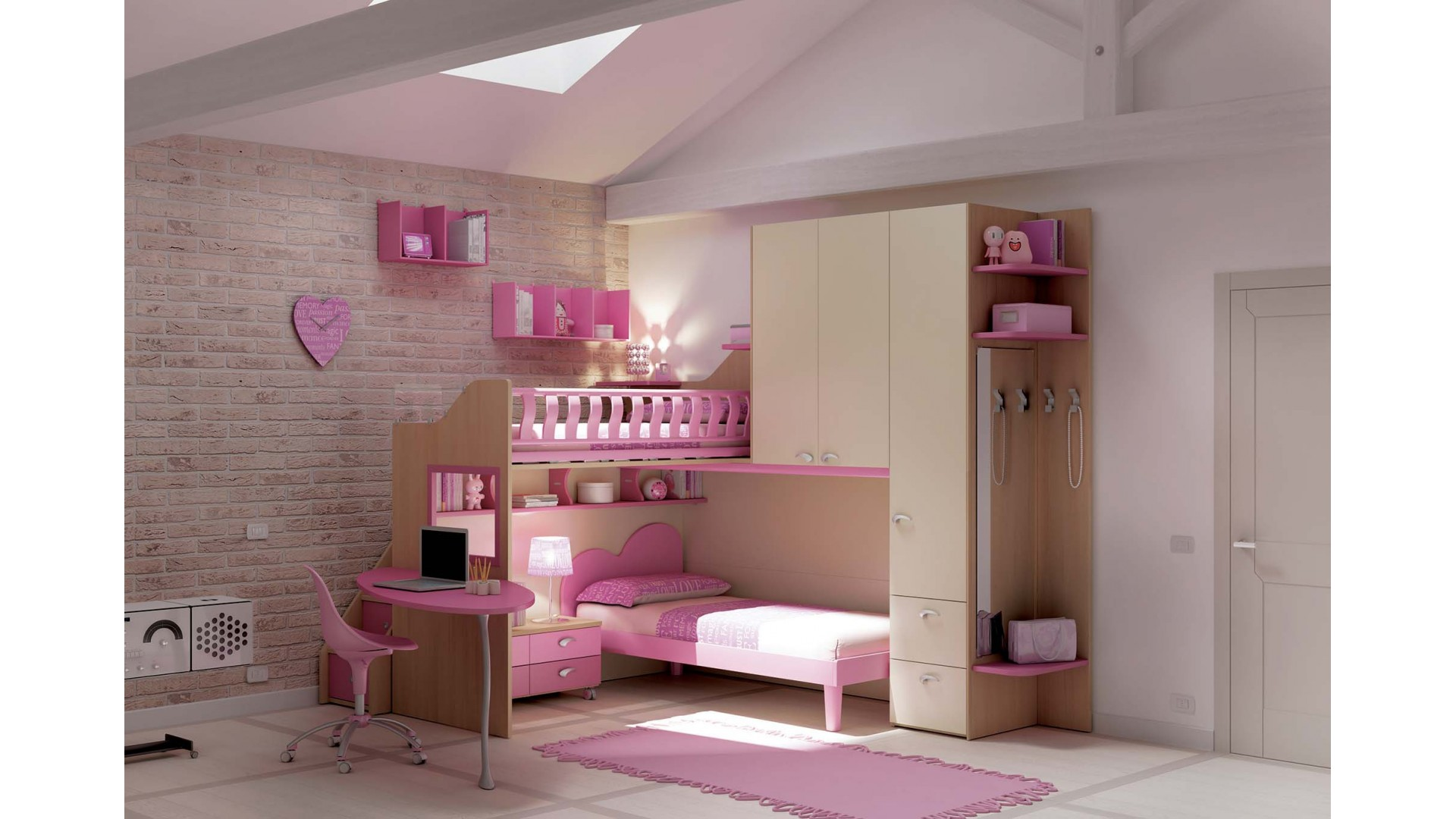 chambre enfant compl te ultra tendance moretti compact so nuit. Black Bedroom Furniture Sets. Home Design Ideas