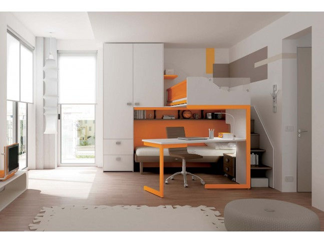 Chambre enfant PERSONNALISABLE KS19 lits superposés en mezzanine - MORETTI COMPACT