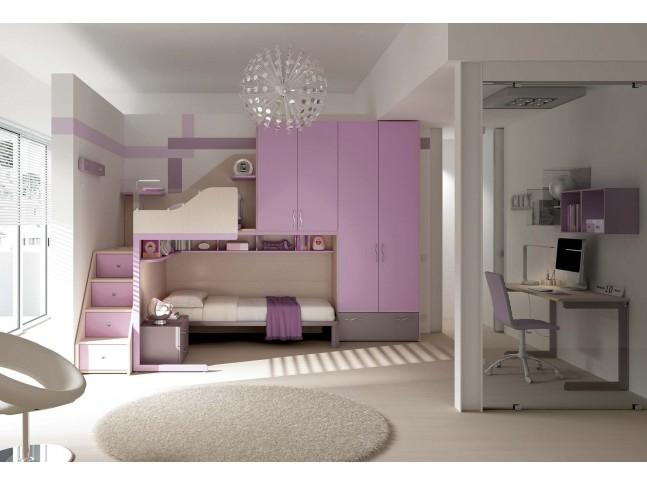 Chambre enfant PERSONNALISABLE KS21 lits superposés en mezzanine - MORETTI COMPACT