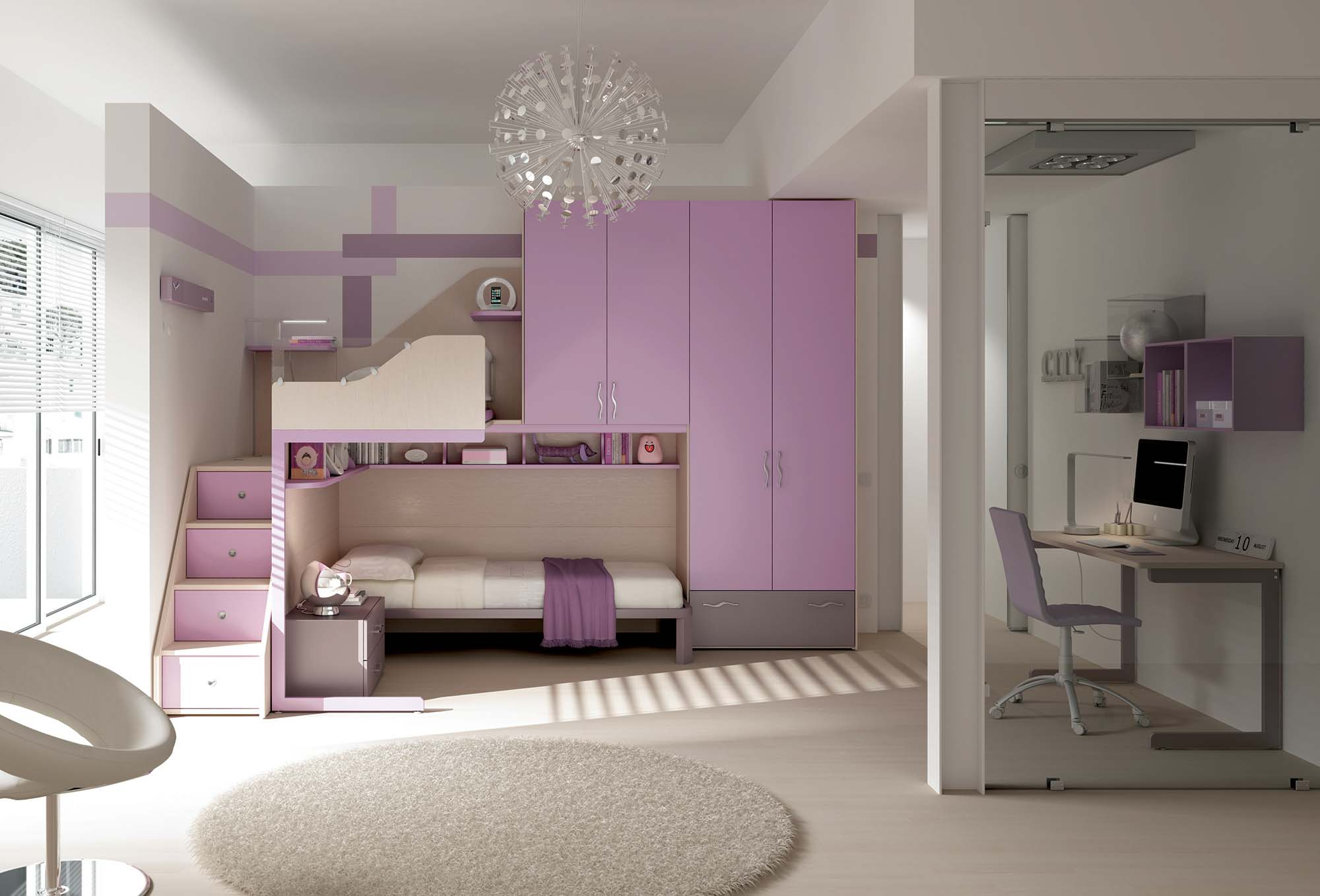 chambre enfant pour fille studieuse fun moretti compact so nuit. Black Bedroom Furniture Sets. Home Design Ideas