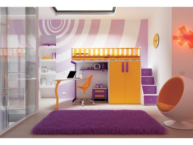 Chambre enfant PERSONNALISABLE KS23 lit mezzanine ultra compact - MORETTI COMPACT