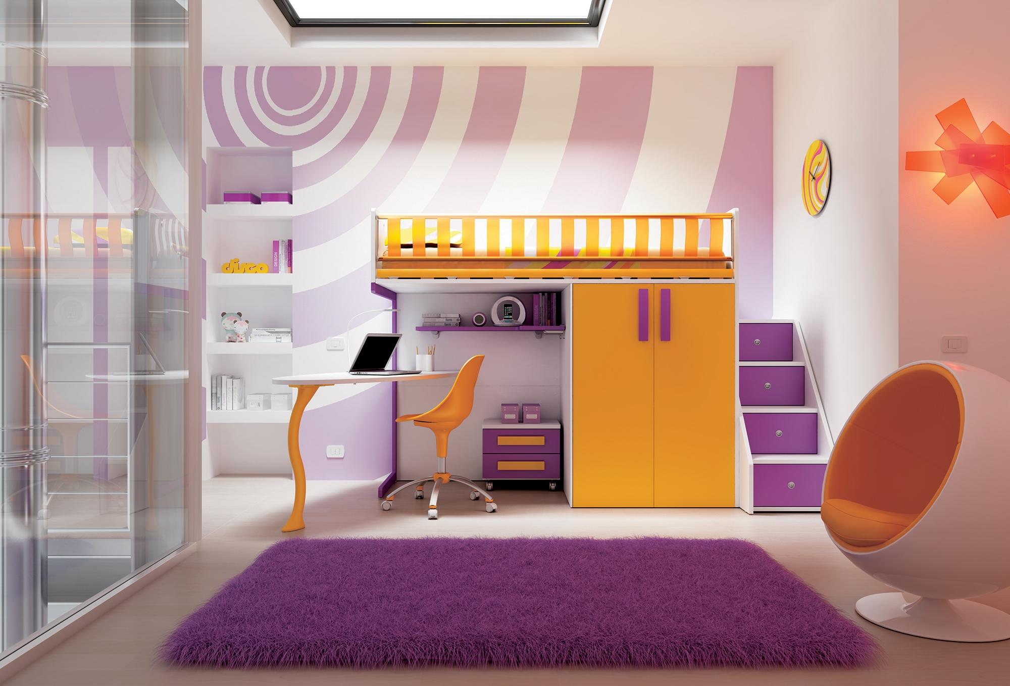 Chambre enfant avec lit mezzanine design moretti compact so nuit - Lit mezzanine enfant design ...