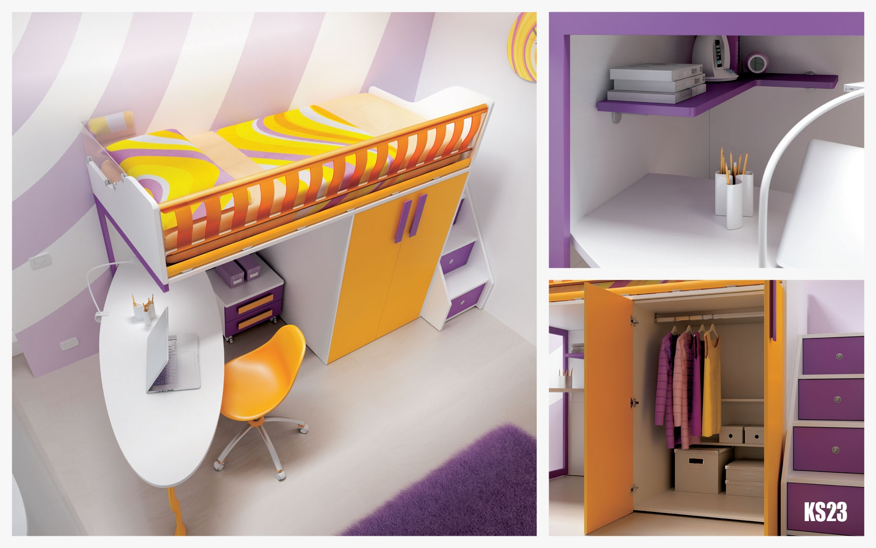 ... Chambre Enfant PERSONNALISABLE KS23 Lit Mezzanine Ultra Compact    MORETTI COMPACT ...