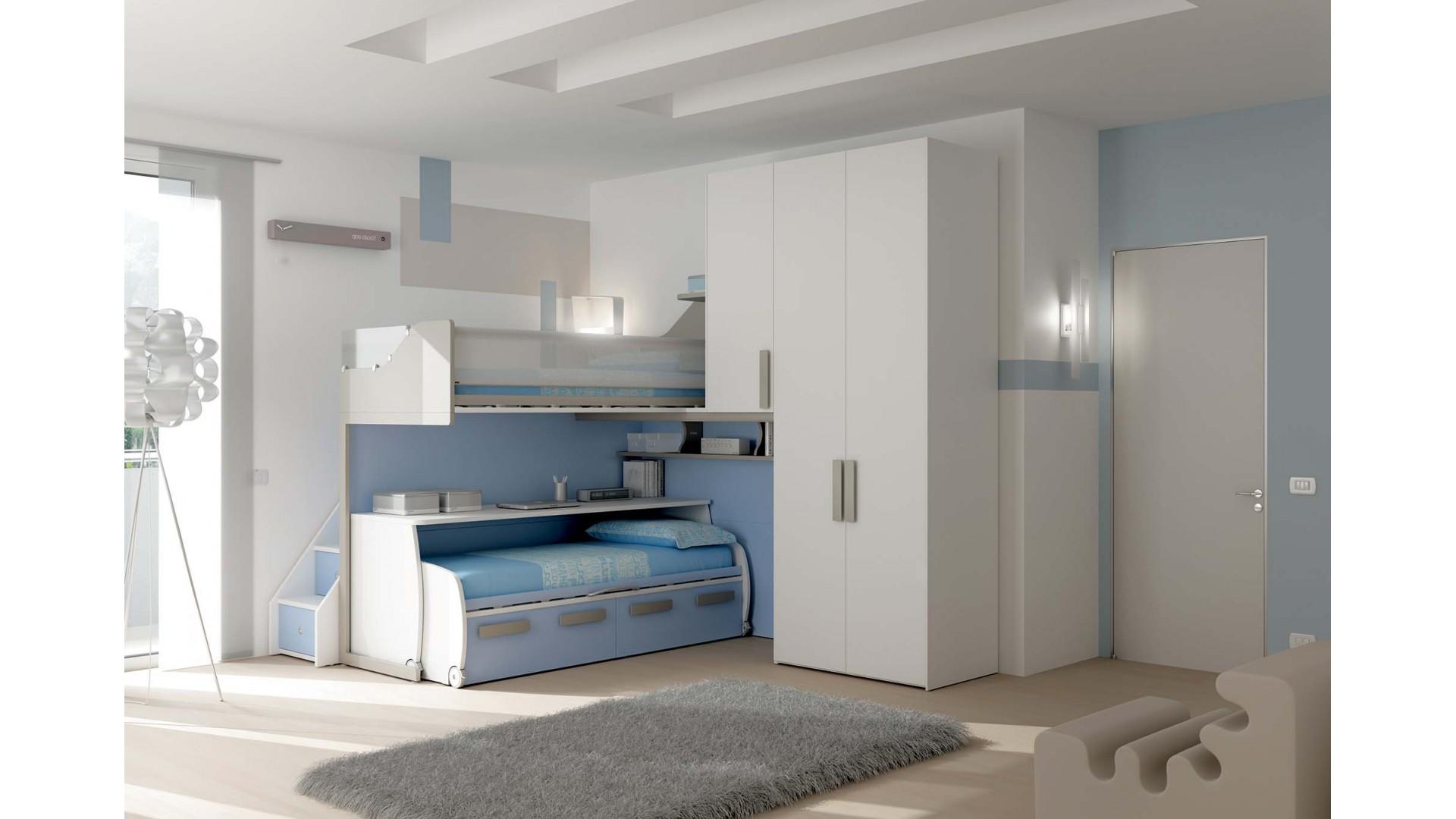 Chambre enfant PERSONNALISABLE KS24 lits superposés en mezzanine - MORETTI COMPACT