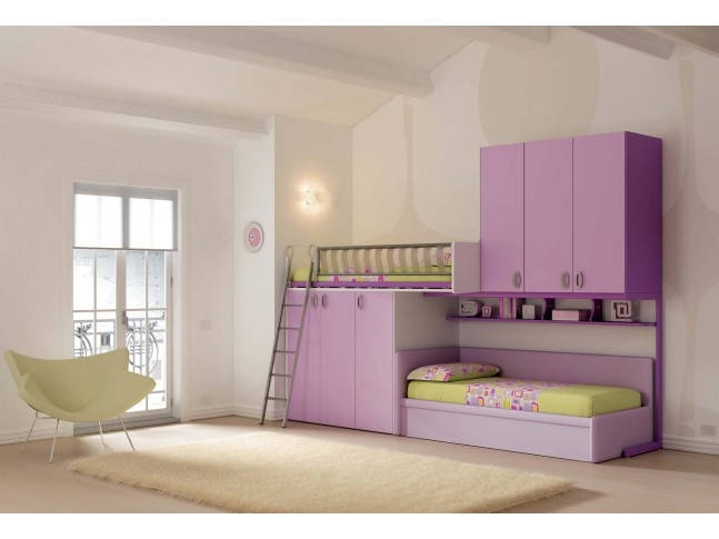 chambre enfant lits superpos s gigogne moretti compact. Black Bedroom Furniture Sets. Home Design Ideas