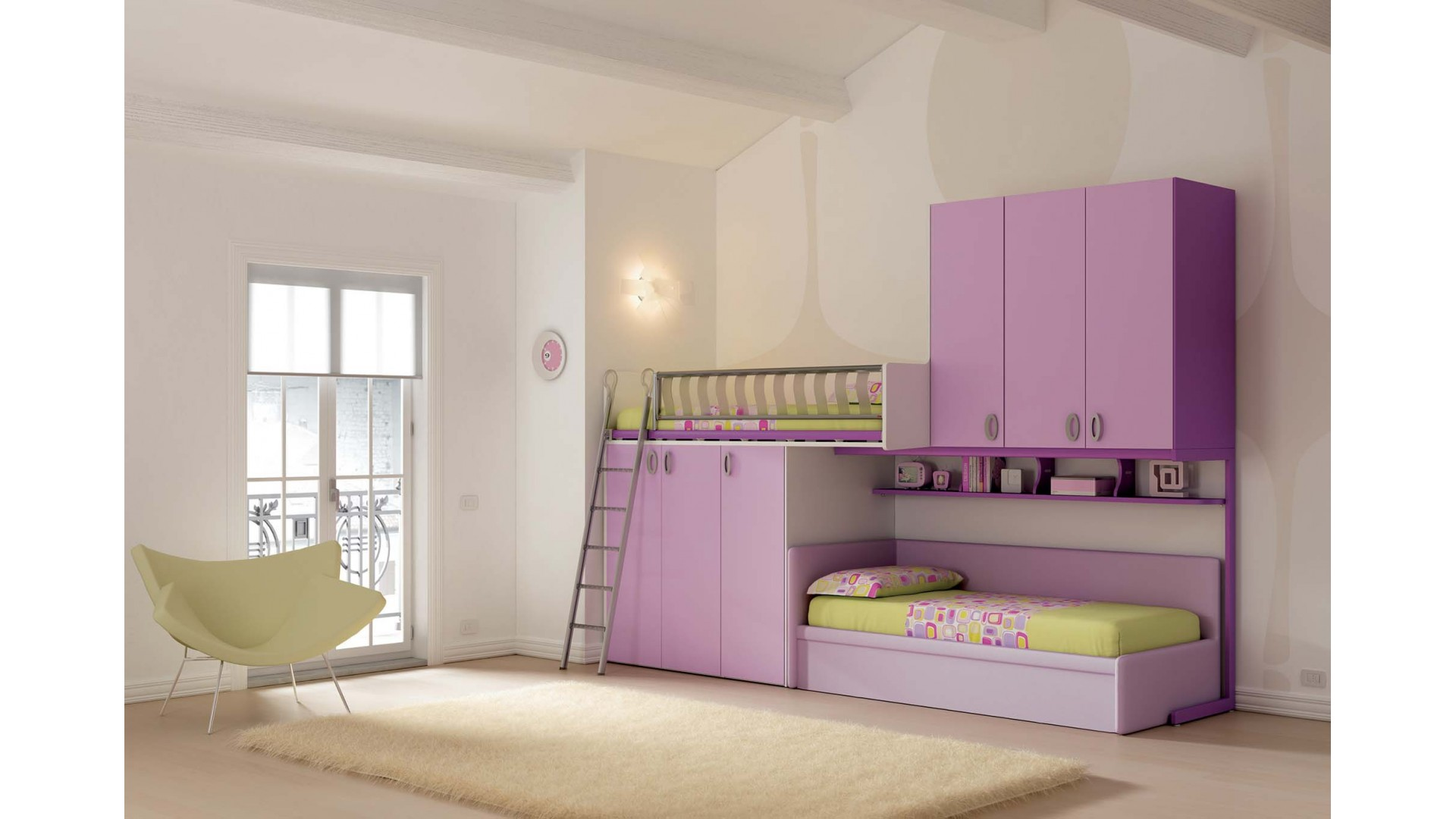 chambre enfant lits superpos s gigogne moretti compact so nuit. Black Bedroom Furniture Sets. Home Design Ideas