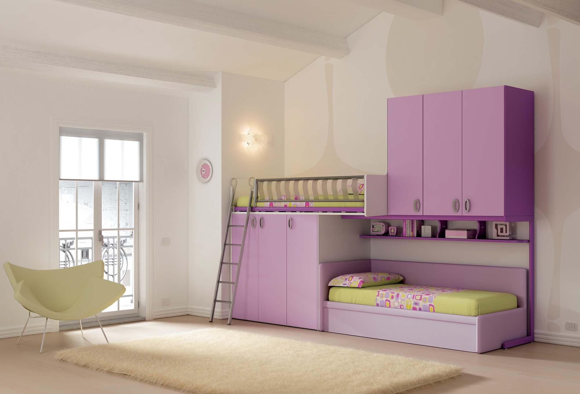 Chambre enfant PERSONNALISABLE KS25 lits superposés et lit gigogne - MORETTI COMPACT