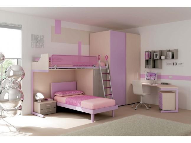Chambre enfant PERSONNALISABLE KS28 lits superposés en mezzanine - MORETTI COMPACT