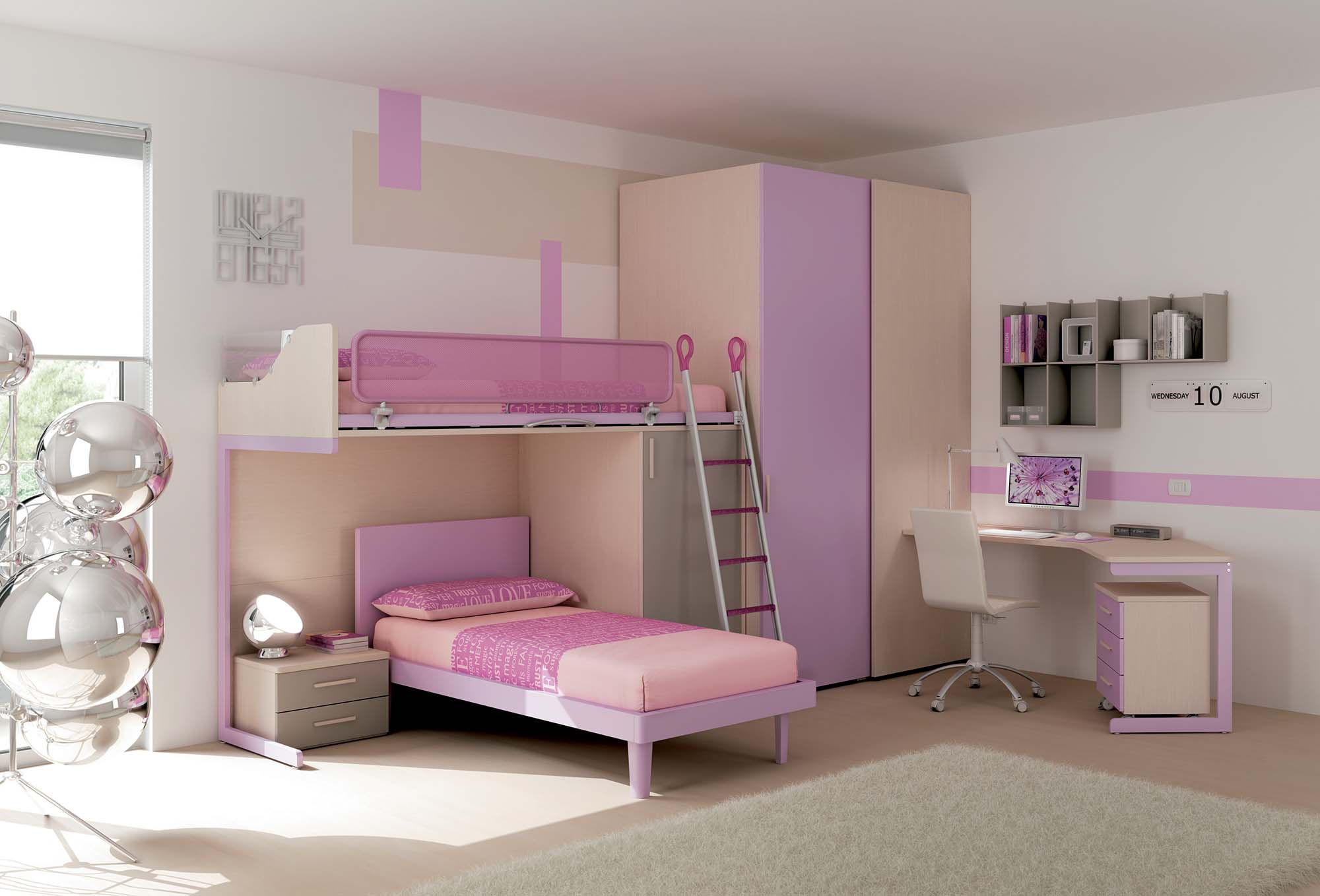 chambre enfant lits superpos s ton pastel moretti. Black Bedroom Furniture Sets. Home Design Ideas