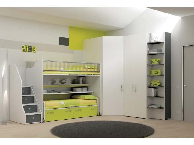 Chambre enfant PERSONNALISABLE KS32 lits superposés ultra-compact - MORETTI COMPACT